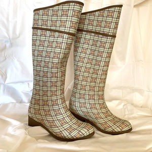 Rubber Mud Boots in Plaid Design Size 6